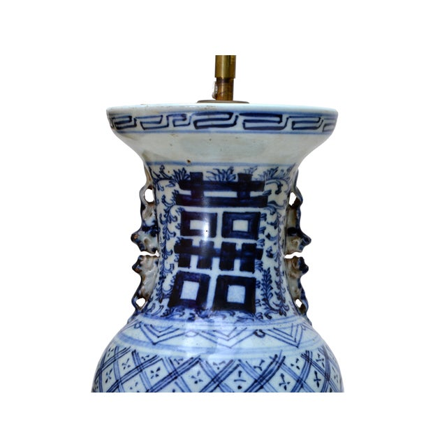 Asian Chinese Blue Grey Pottery Table Lamps with Original Shades - A Pair For Sale - Image 3 of 6
