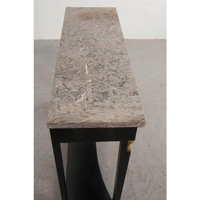 French 19th Century Empire Style Marble Top Ebonized Console For Sale - Image 9 of 12