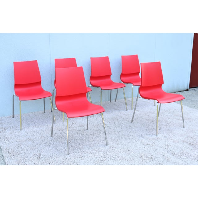 Metal Italian Modern Marco Maran for Maxdesign Red Ricciolina Dining Chairs - Set of 6 For Sale - Image 7 of 13
