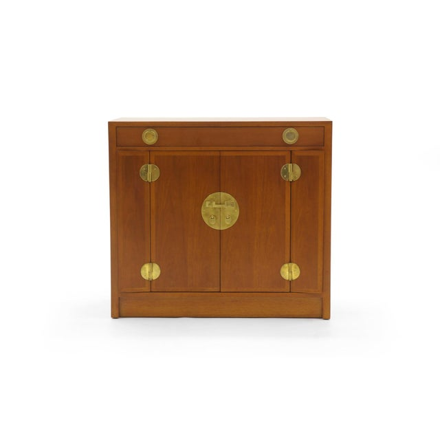 Dunbar Mahogany and Brass Four Doors One Drawer Cabinet For Sale - Image 9 of 9