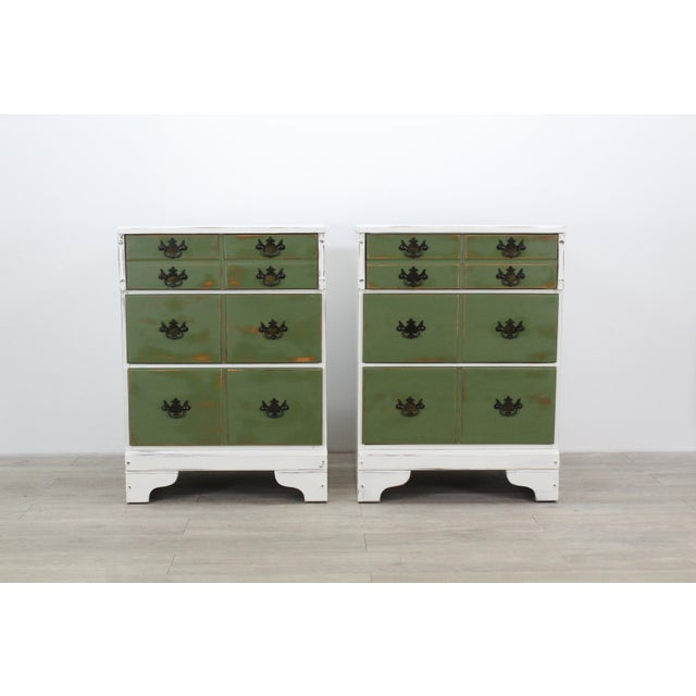 Pair of Mid-Century 3-Drawers Nightstands, Provincial Nightstands For Sale - Image 4 of 11