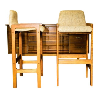 Dixie Furniture Danish Modern Style Teak Wood & Tweed Bar Stools - A Pair For Sale