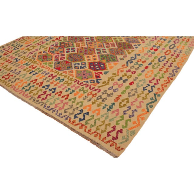 Asian Eulah Ivory/Blue Hand-Woven Kilim Wool Rug -8'6 X 11'5 For Sale - Image 3 of 8