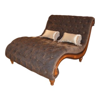 Curved Large 2-Seater Tufted Cheetah Chaise