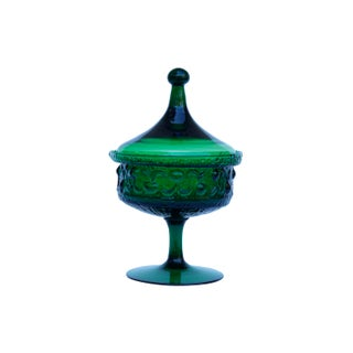Emerald Green Glass Candy Dish With Lid Preview