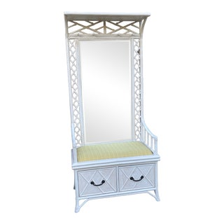 Chinoiserie Bamboo Mirror Hall Tree With Storage For Sale