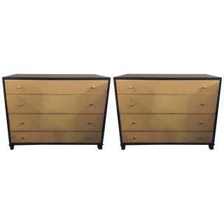 Parzinger Style Chests With Four Leather Front Drawers - a Pair
