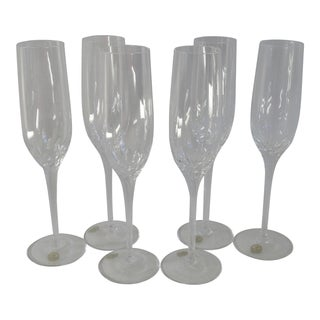 Vintage Crystal Champagne Flutes by Rogaska Yugoslavia - Set of 6 For Sale