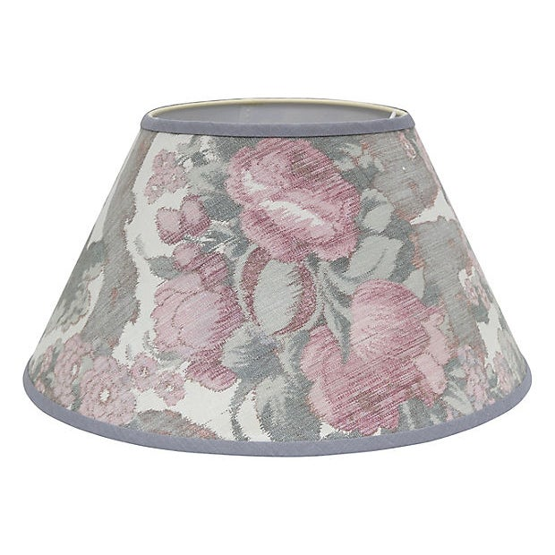 Silk-and-cotton lampshade handcrafted in England with vintage French ikat fabric on a new shade. Features a unique frame...