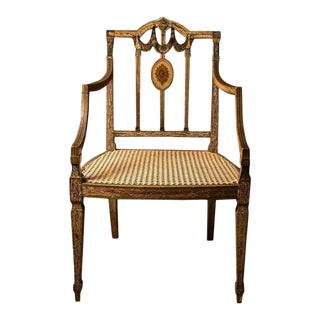 Rare George III hand-painted armchair in the Sheraton Manner, 18th Century