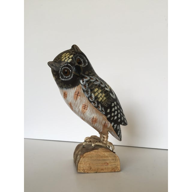 Figurative Vintage Hand Painted Owl Sculpture Figure For Sale - Image 3 of 7