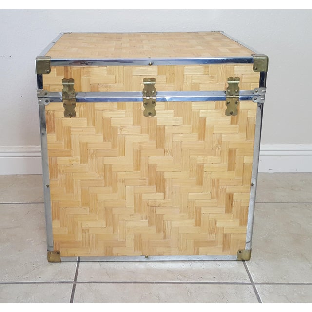 1970s Chinoiserie Woven Bamboo Storage Trunk For Sale - Image 4 of 13