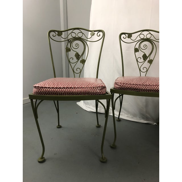 Vintage Woodard Style Wrought Iron Patio Chairs - Set of 6 For Sale - Image 11 of 13