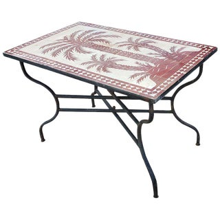 Moroccan Rectangular Burgundy Tree of Life Mosaic Dining Table For Sale