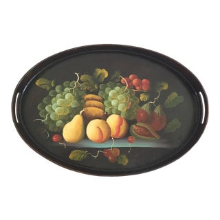 Vintage Oval Handpainted Still Life With Fruits Wooden Tray For Sale