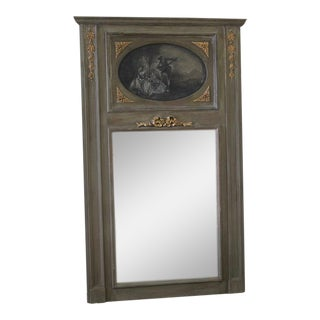 Painted French Trumeau Mirror For Sale