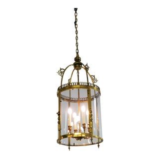 Large Four Lights Bronze Lantern From France, 1920 For Sale