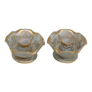 Mid 20th Century Stangl Pottery Gold on Green Body Vintage Candlestick Holders - a Pair For Sale
