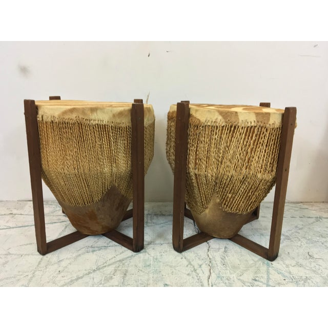African Zebra Skin Drum Tables - a Pair For Sale - Image 5 of 6