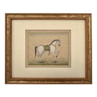 Vintage Indian Miniature Painting of a Horse For Sale