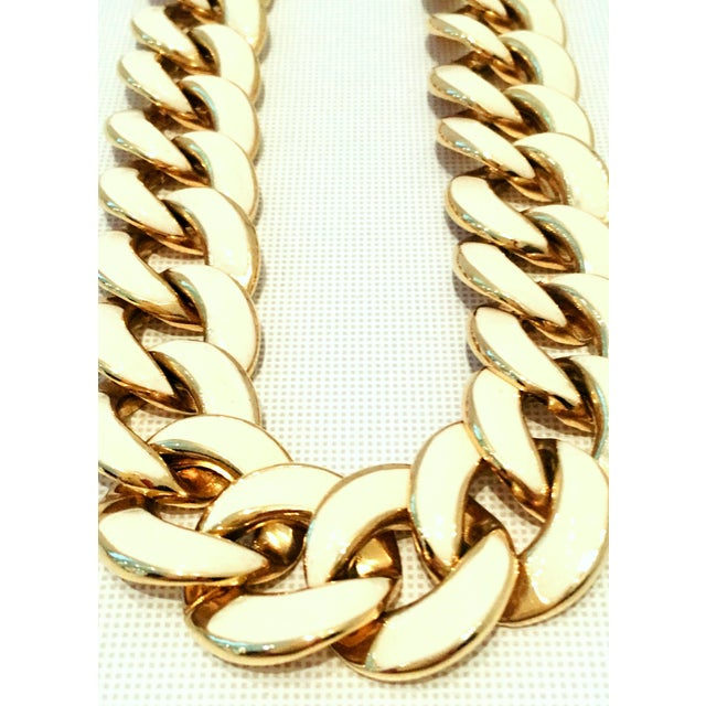 Contemporary 20th Century Les Bernard Gold & Enamel Chain Link Choker Necklace For Sale - Image 3 of 9