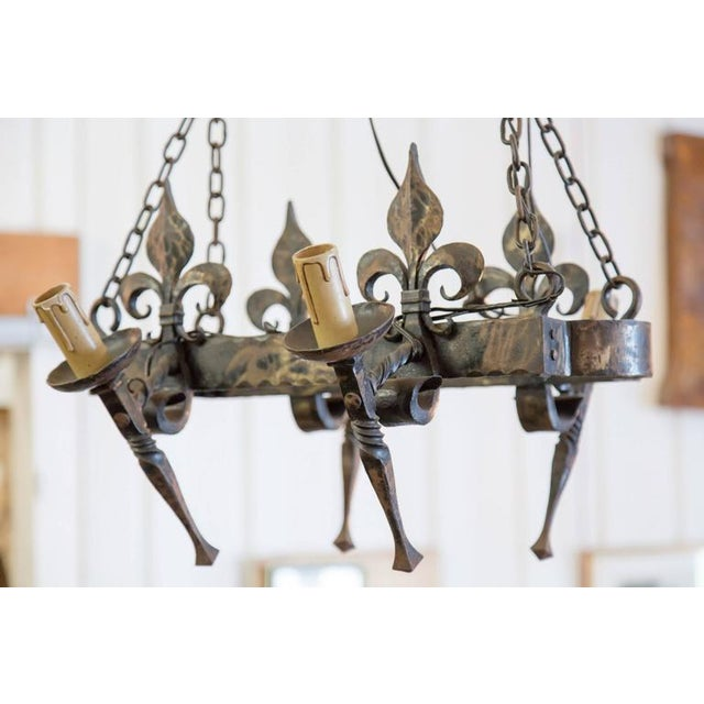 French French Country Four Light Hand-Forged Iron Fleur De Lis Chandelier For Sale - Image 3 of 10