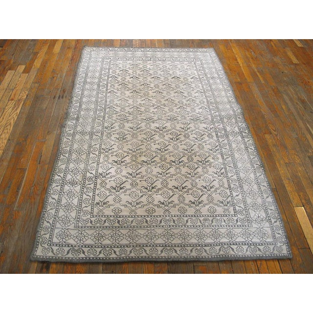 """1920s 1920s Traditional Gray and White Wool Rug - 4'x6'7"""" For Sale - Image 5 of 6"""