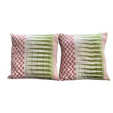 Image of Boho Chic Springtime Kantha Pillows - a Pair For Sale