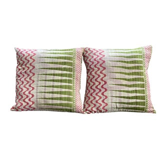 Boho Chic Springtime Kantha Pillows - a Pair For Sale