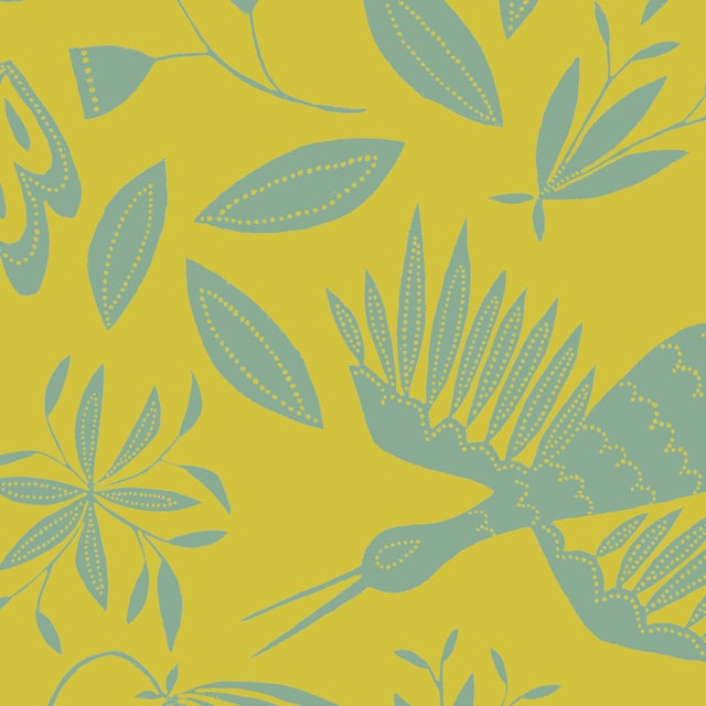Transitional Julia Kipling Otomi Grand Wallpaper, 3 Yards, Warm Cactus For Sale - Image 3 of 3