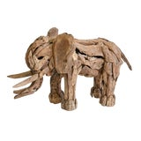 Image of Recycled Teak Wood Elephant Sculpture For Sale