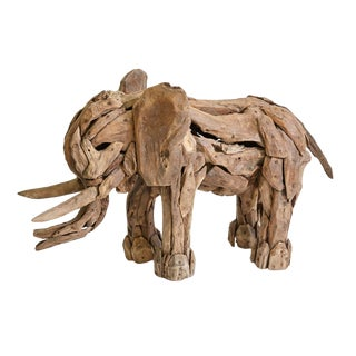 Recycled Teak Wood Elephant Sculpture For Sale