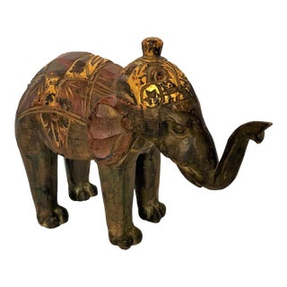 Vintage Faux Wood Elephant Carving With Gilt Details For Sale