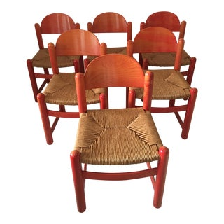 Italian Lowenstein Rush Dining Chairs - Set of 6