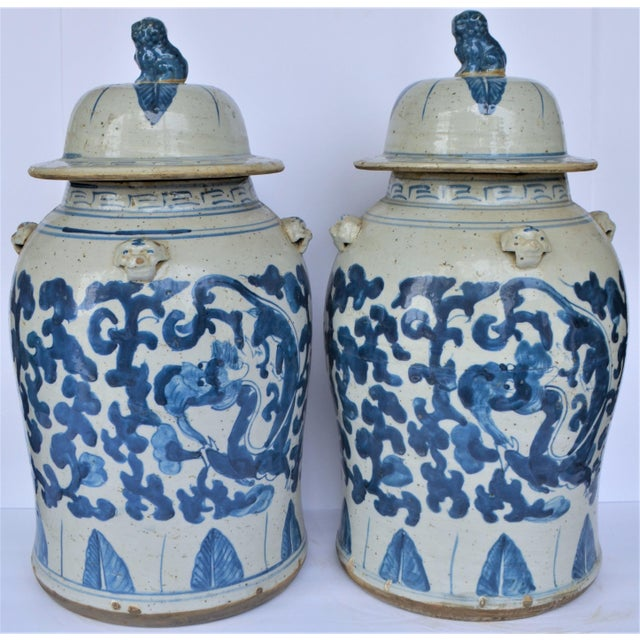Chinoiserie Chinoiserie Blue and White Scroll and Leaf Ginger Jars, a Pair For Sale - Image 3 of 6