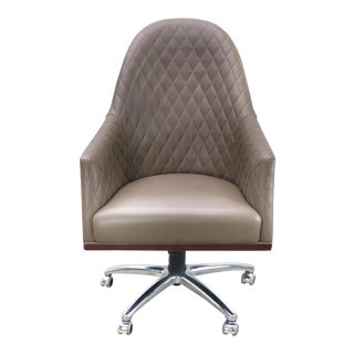 Leather Swivel Desk Chair by Umberto Asnago for Medea Mobiledia, Italy For Sale