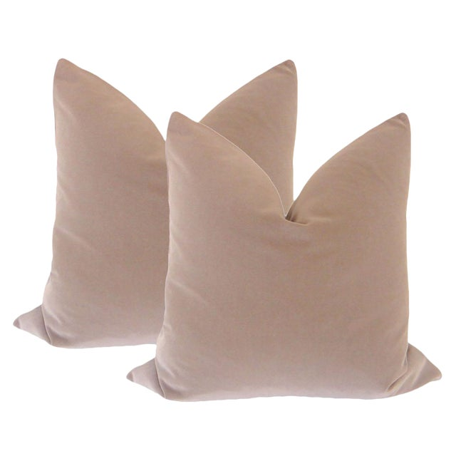 "22"" Taupe Velvet Pillows - a Pair - Image 2 of 4"