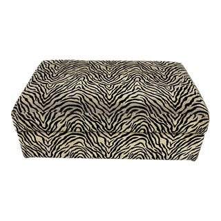 Crate & Barrel Animal Print Storage Ottoman + Castors For Sale