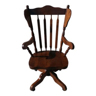Swivel Spindle Back Oak Office Chair For Sale