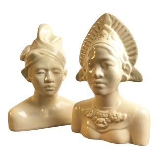 Mid Century Balinese Ceramic Wedding Couple Busts - a Pair For Sale