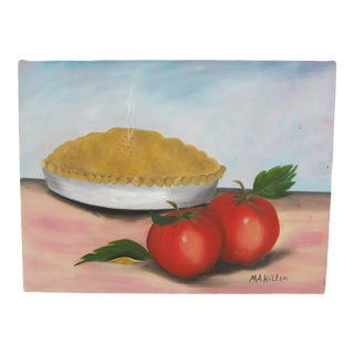 Vintage Folk Art Still Live Painting of a Pie and Apples For Sale