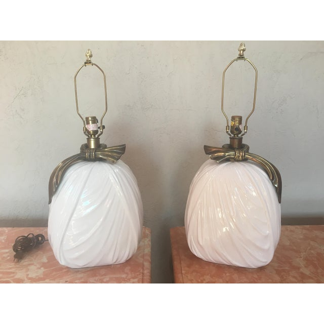 1980s 1980s Vintage Chapman Drappery Hollywood Regency Style Lamps - A Pair For Sale - Image 5 of 5