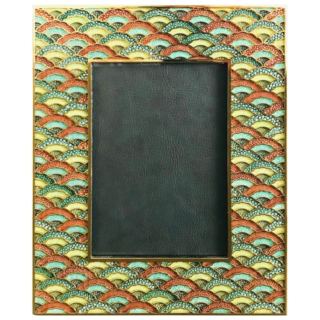 Metal Shagreen Gold-Plated Photo Frame by Fabio Ltd For Sale - Image 7 of 7