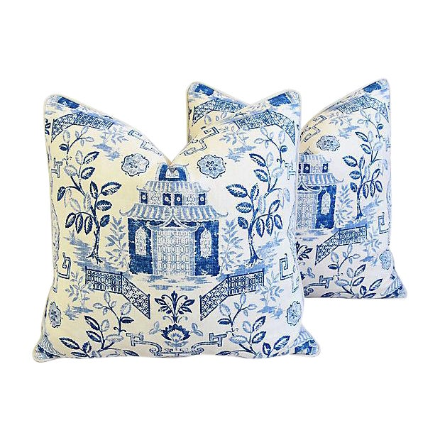 "Custom Blue & White Chinoiserie Feather/Down Pillows 26"" Square - Pair For Sale - Image 13 of 13"