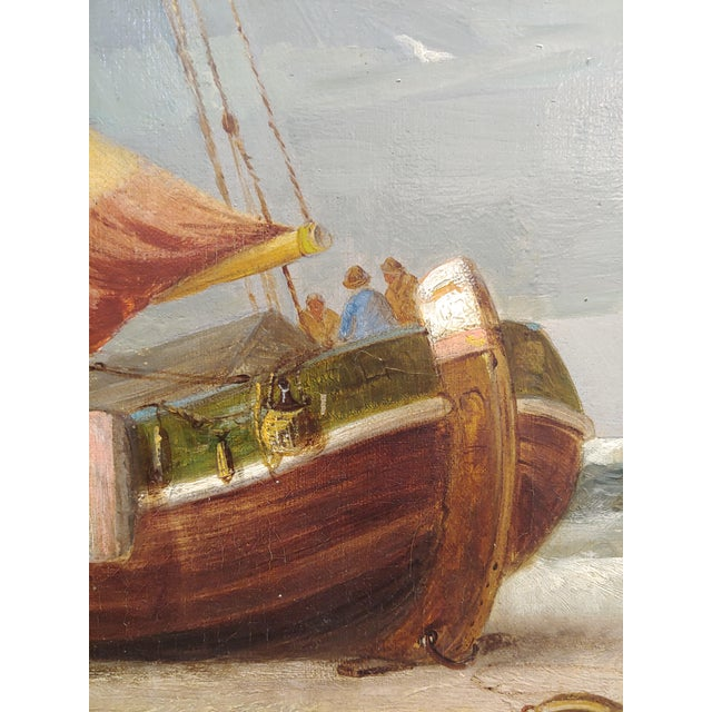 "19th Century ""Fishing Boats"" Large Oil Painting by C.H. Cook, 1878 For Sale In Los Angeles - Image 6 of 12"