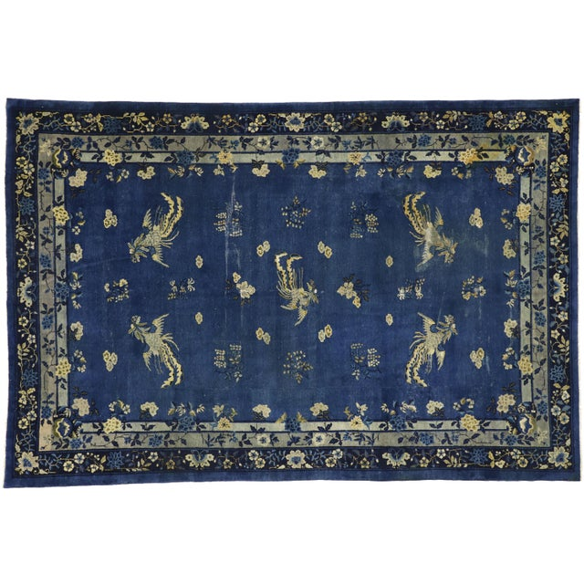 Antique Chinese Peking Art Deco Rug With Chinoiserie Style - 09'01 X 13'07 For Sale - Image 9 of 10