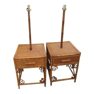 1970s Bamboo Lamp Side Tables - a Pair For Sale