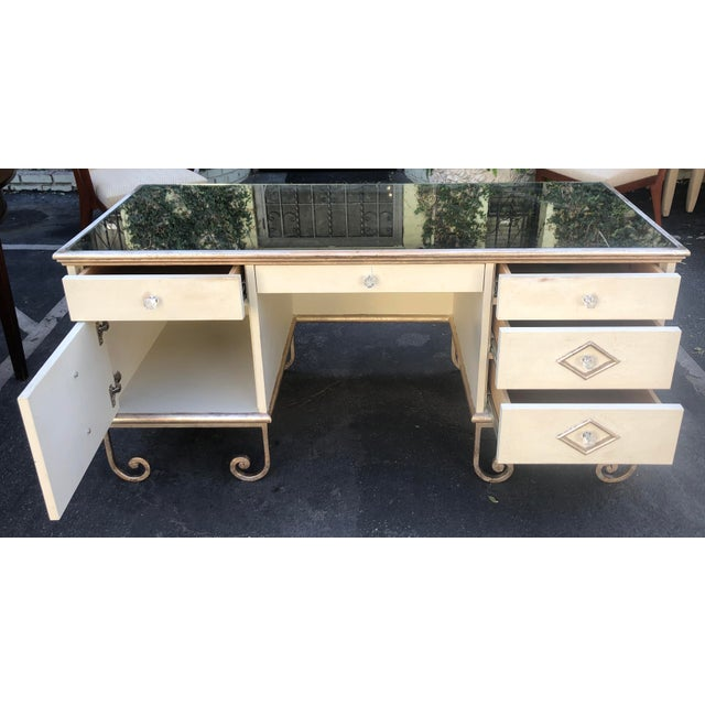 Vintage Art Deco Mirror Top Vanity Desk Knee Clearance: 23.75""