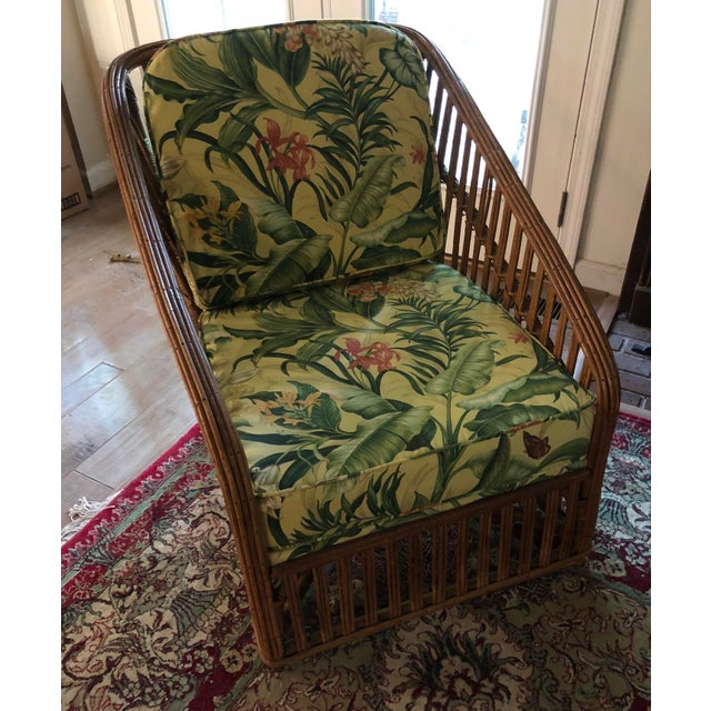 Vintage 1970s bamboo lounge chair newly upholstered in vintage Waverly fabric. New foam inserts. Sturdy chair in excellent...