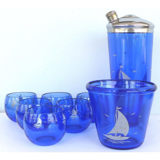 1930s Cobalt Martini Shaker, Ice Bucket & Glasses - Set of 8 For Sale - Image 10 of 10